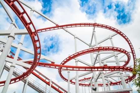The roller coaster track structure isolated on white background photo