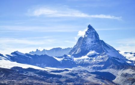 Matterhorn peak with blue sky background, Zermatt, Switzerland photo