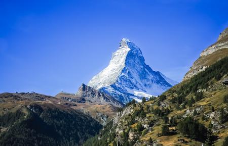 Matterhorn peak with clear blue sky background, Zermatt, Switzerland