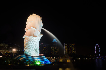 The Merlion of Marina Bay, Singapore at night time Editorial
