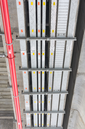 e work: The cable tray and piping construction at site