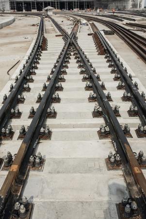 sleeper: The rail installation on the concrete sleeper
