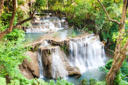 khamin: Beautiful scene of Mae Khamin waterfall in Kanchanaburi, Thailand Stock Photo