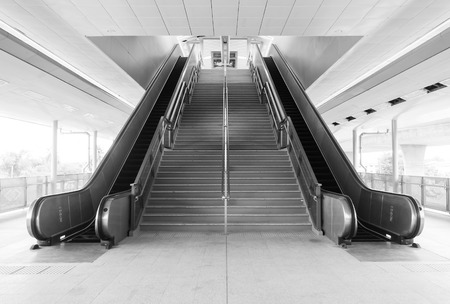 The empty stair and escalator in black and white Stock Photo