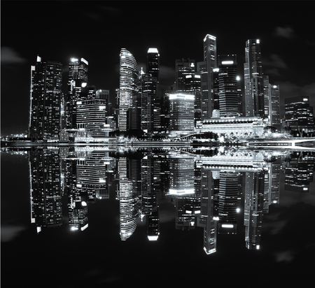 The cityscape architecture building business metropolis concept with reflection