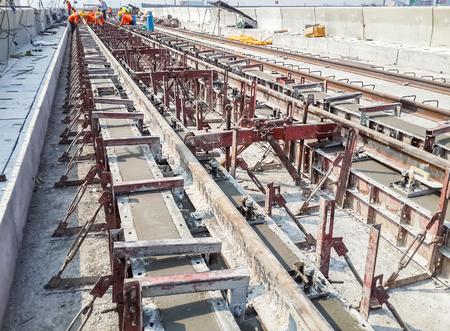 wood railways: Construction work on site of railway concrete track
