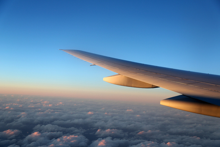 airplane wing flying