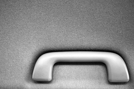 hand rails: car interior handle black and white Stock Photo