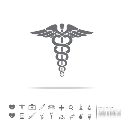 caduceus medical symbol Ilustracja