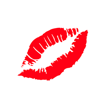 Print of red lips vector background.