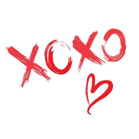 XOXO red heart vector card