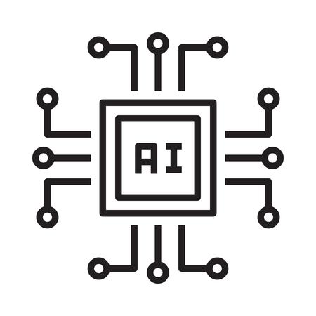 artificial intelligence processor chip Ilustración de vector