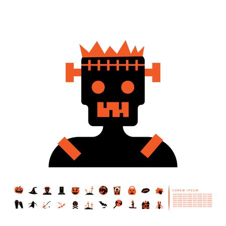 horror zombie icon flat design