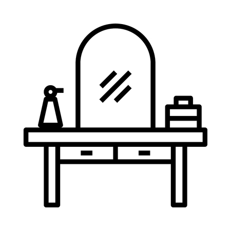 make up desk in dressing room Stock Illustratie