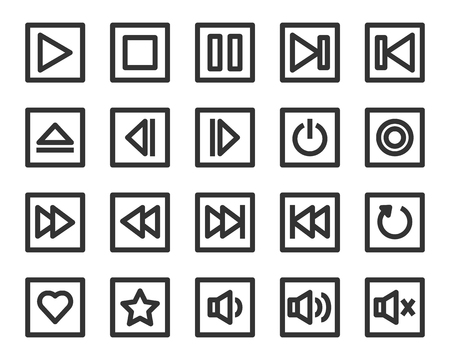Media player button vector icon set