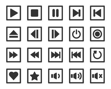 Media player button vector icon set Vettoriali