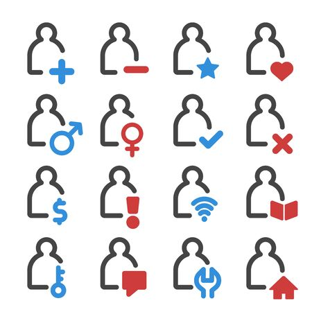 person and user outline icon set, vector and illustration Illustration