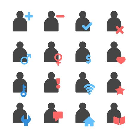 person and user icon set, vector and illustration