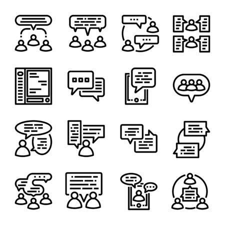 people communication, dialogue conversation icon vector set