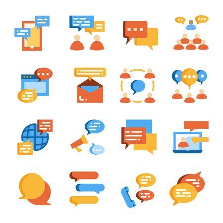 people communication, dialogue conversation flat icon vector set