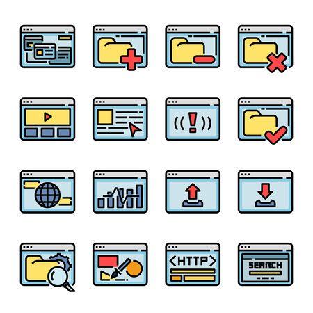 Interface Browser color vector icon set Иллюстрация