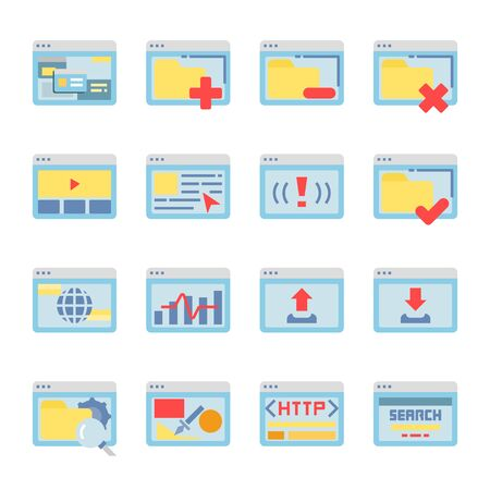 Interface Browser flat vector icon set