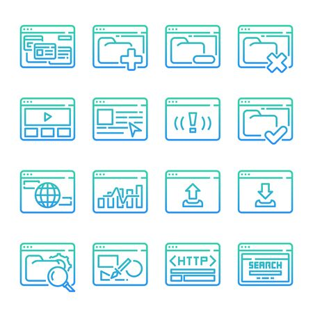 Interface Browser gradient vector icon set