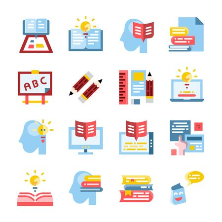 Learning Education flat vector icon set