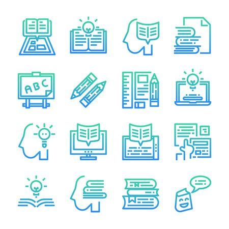 Learning Education gradient vector icon set Illustration