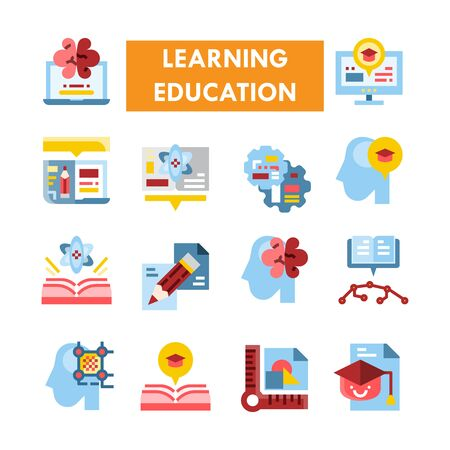 Learning Education vector icon set