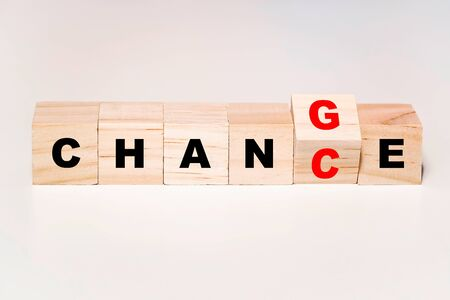 Wooden cube block flip word from change to chance, Personal development or career growth or change yourself concept