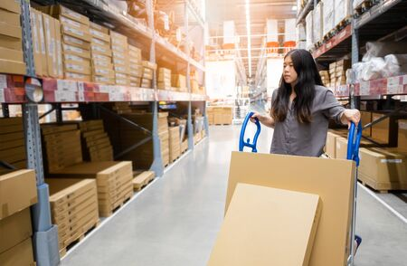 Beautiful young Asian woman customer or staff worker pushing trolley or picking cart in warehouse store with blur background of boxes on shelf, self service shopping concept