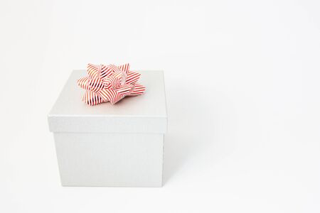 white gift box for birthday, Valentine's day , Christmas, New Year and wedding isolated background with copy space