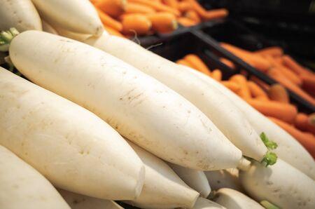 close up fresh organic white radish in supermarket shelf, vegetable background