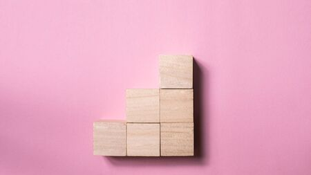 blank wood cube mock up in stair shape on isolated background for create letter or symbol, business, banner, advertising concept, banner size with copy space