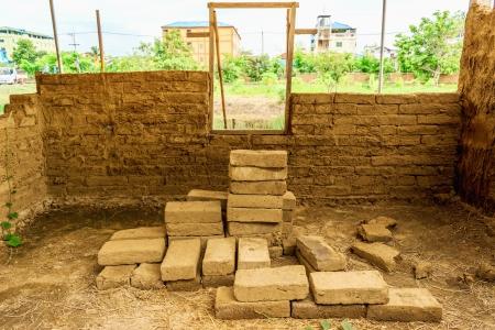 mud house: Under construction mud house  Stock Photo