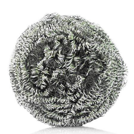 steel wool: steel wool dishwashing on white background. Stock Photo