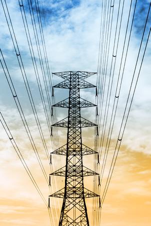 siluet: The siluet transmission tower on sky background.