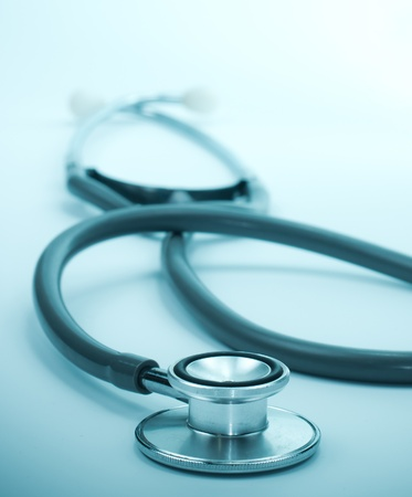 clean lungs: blue stethoscope Stock Photo