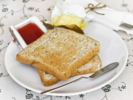 multi grain sandwich: breads with jam and butter Stock Photo