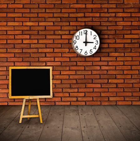 black board and clock on the wall