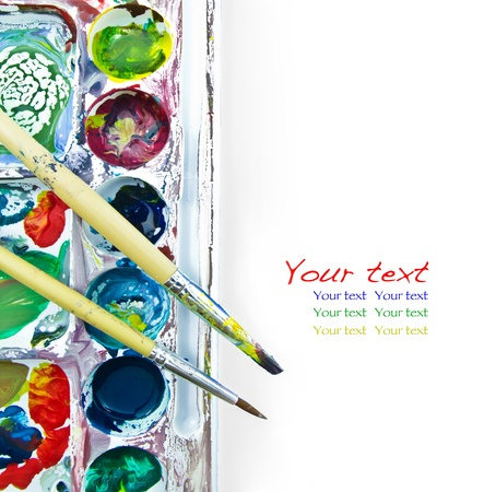 paintbrush and palette on white Stock Photo - 9744740