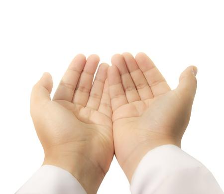 manos orando: manos levantados a suplicó el todopoderoso Foto de archivo