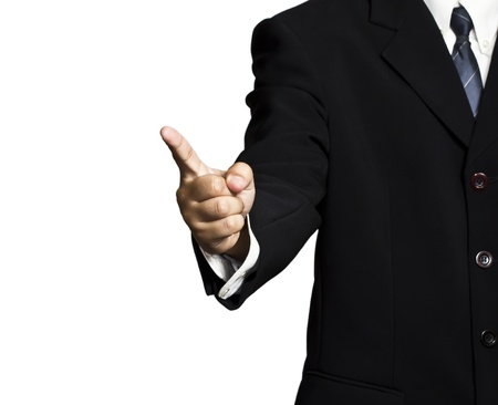 a businessman pointing over white background Stock Photo - 10417472