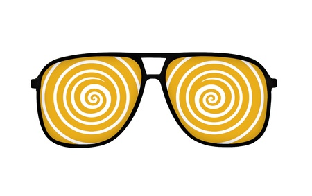 myopic: dizzy line in eyeglasses on white