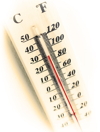celsius: celsius and fahrenheit thermometer over white