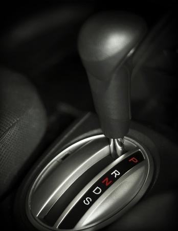 close up automatische versnellingsbak in een auto Stockfoto