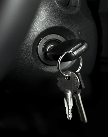 Car keys in ignition (start the car) photo
