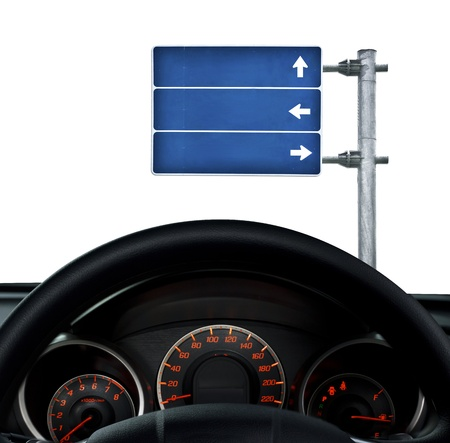 dashboard and road sign over white