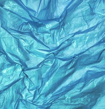 blue wrinkled plastic bag for background Foto de archivo